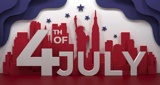 Landmark of new york city, america for holidays and independence day poster, in 3d illustration.