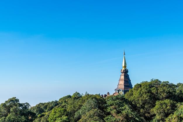 Landmark pagoda in doi inthanon national park with blue sky at chiang mai, thailand.