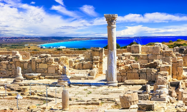 Landmarks of antique cyprus island, ruins of kurion temple and classic greek column