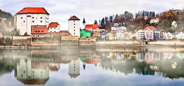 Landmarks of germany -passau town over danube and inn river, bavaria
