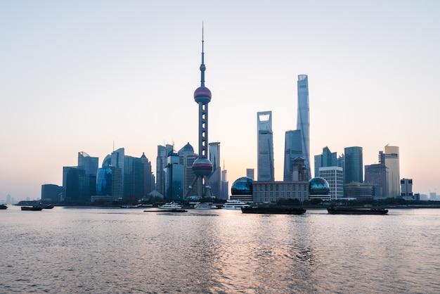 Landmarks of shanghai along huangpu river