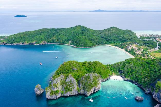 Landscape aerial top view phi phi island kra bi thailand hi season