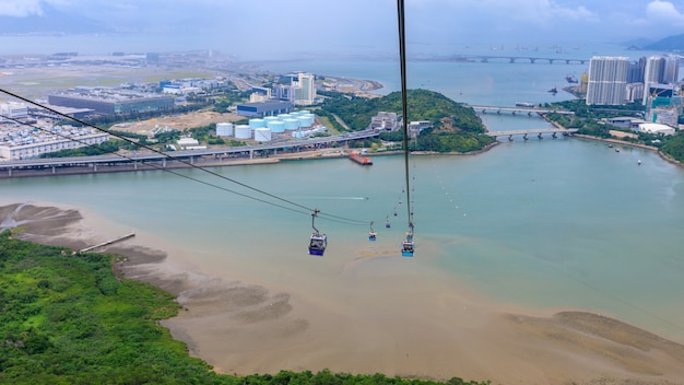Landscape aerial view from cable car in island hong kong china