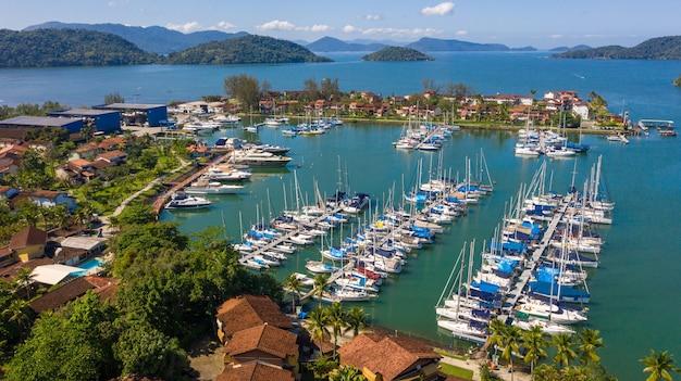 Landscape aerial view of harbor