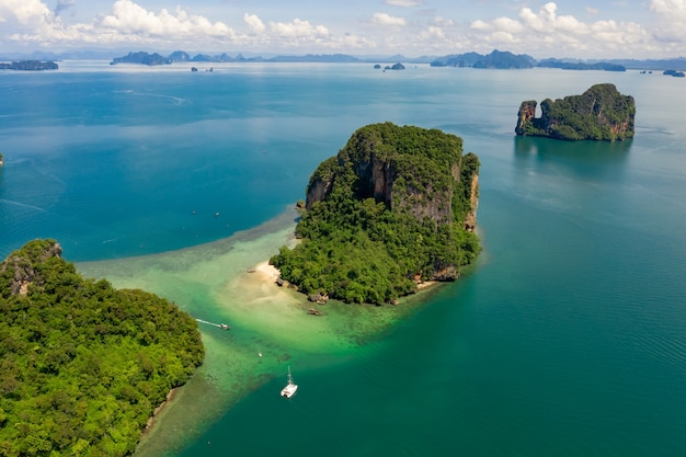 Landscape aerial view islands of the sea and boat tourists kra bi thailand