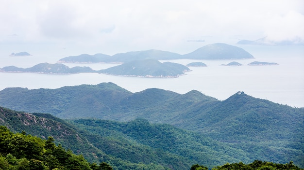 Landscape aerial view mountain and the sea  in hong kong china