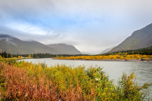 Landscape of alaska with big river and mountain landscape