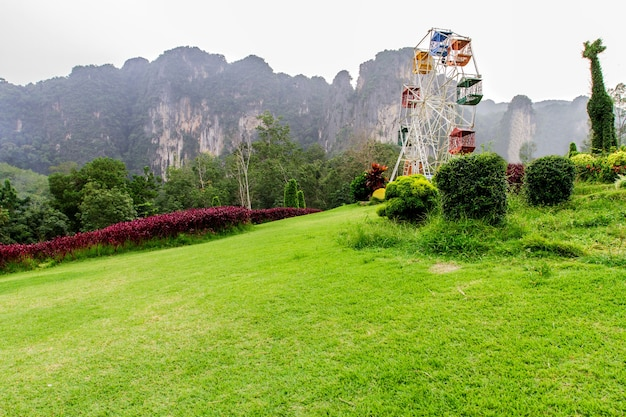 Landscape and amusement parks in the valley in the winter, at krabi, thailand