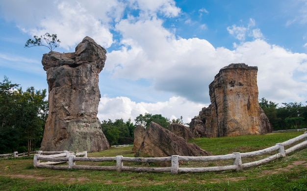 Landscape, ancient rock formations, nature and blue sky