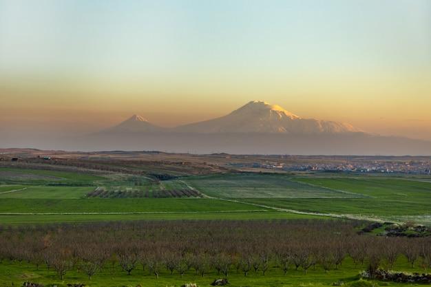 Пейзаж и гора арарат на закате