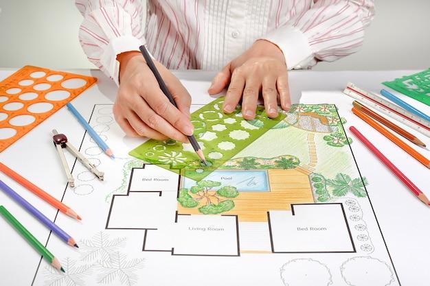 Ландшафтный архитектор дизайн план двора виллы