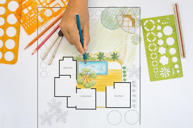 Ландшафтный архитектор дизайн план заднего двора для виллы
