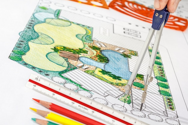 빌라 조경 건축가 디자인 뒤뜰 계획