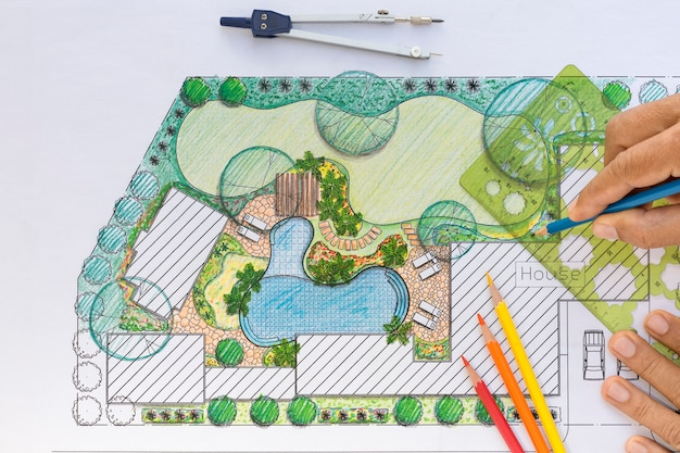 빌라 조경 설계 뒤뜰 계획