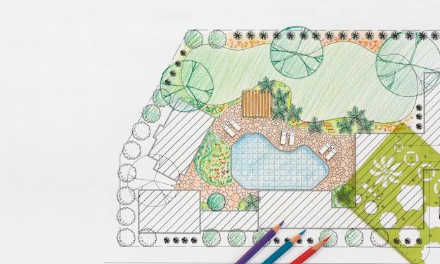 ヴィラのランドスケープアーキテクトデザイン裏庭計画