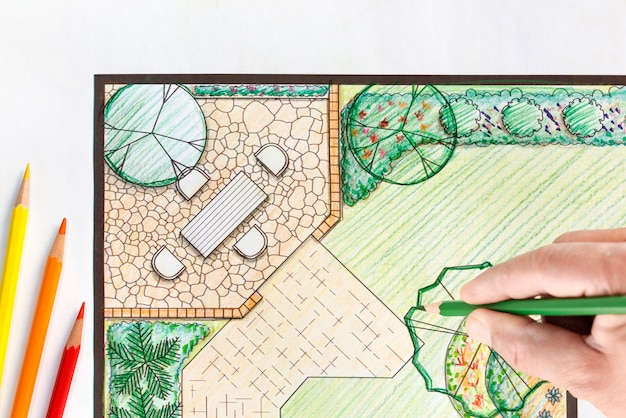 Landscape architect design backyard plan