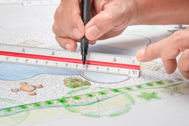 リゾートの造園家設計裏庭プール計画
