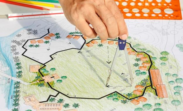 Landscape architect design blueprint for resort