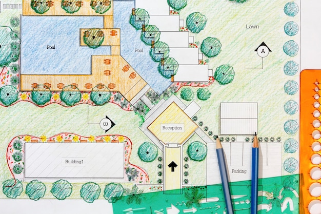 Landscape architect design hotel resort plan