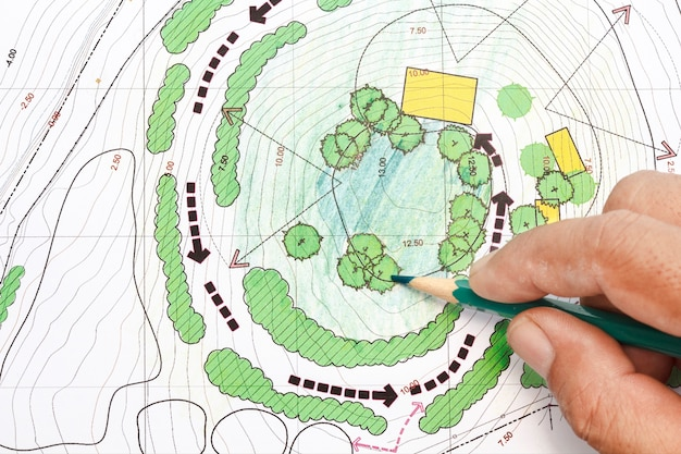 Landscape architect designing on site analysis plans