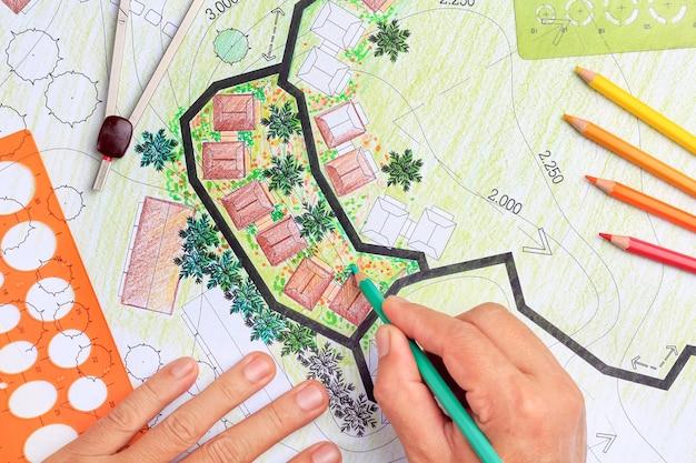 Ландшафтная архитектура дизайн план сада для жилищной застройки