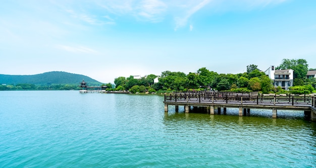 Landscape architecture and natural landscape of yunlong lake in xuzhou