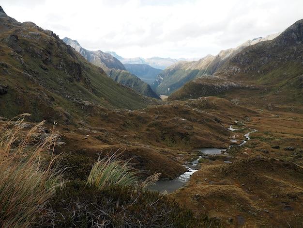 Пейзаж в национальном парке маунт-аспиринг в новой зеландии