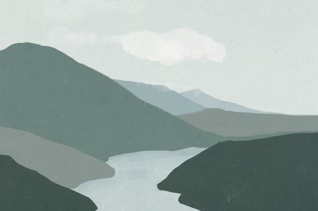 Fondo del paesaggio delle montagne con l'illustrazione del fiume