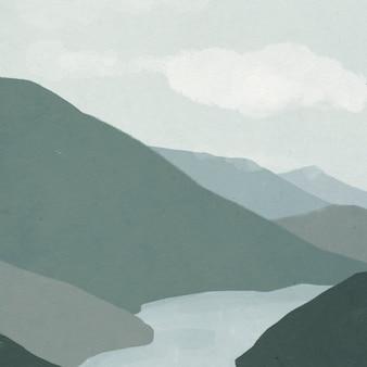 강 일러스트와 함께 산의 풍경 배경