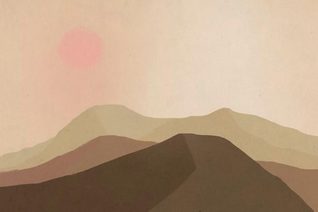 태양 일러스트와 함께 산의 풍경 배경