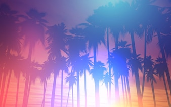 Landscape background with palm trees