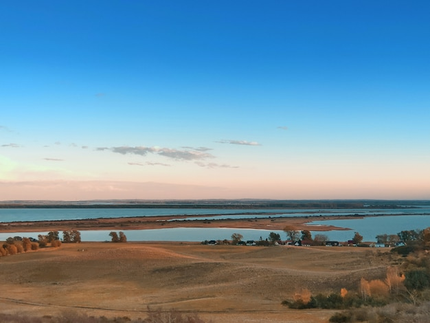 Landscape and baltic sea on the island hiddensee at sunset in autumn