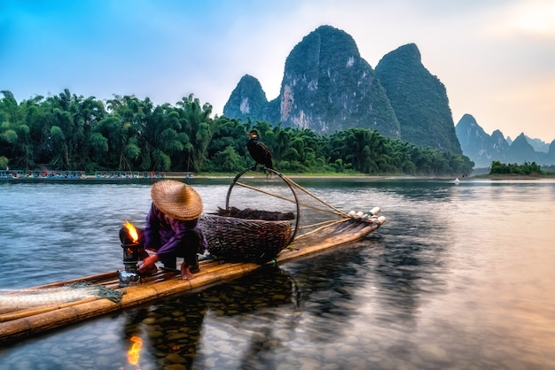 Landscape and bamboo rafts of lijiang river in guilin, guangxi
