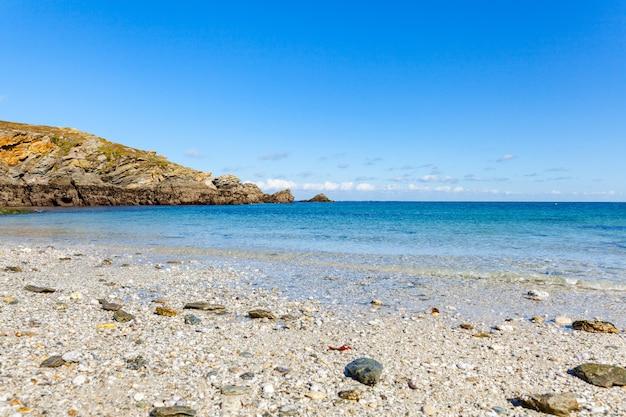 Landscape beach rocks cliffs shores at belle ile en mer at the point of foals in morbihan