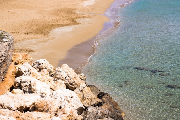 Landscape of beach and sea. beautiful coast with sand