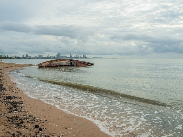 Landscape of beaches with sea and boat crashes , pattaya thailand .