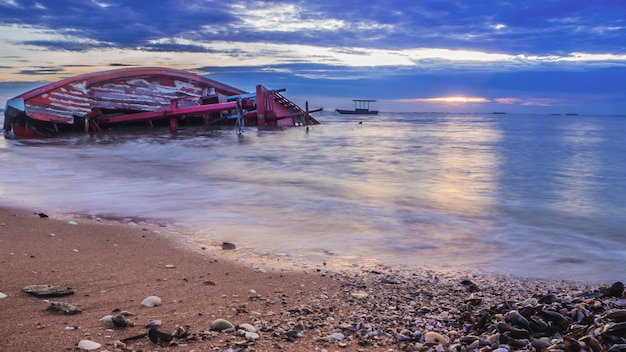 Landscape of beaches with sea and boat crashes , pattaya thailand