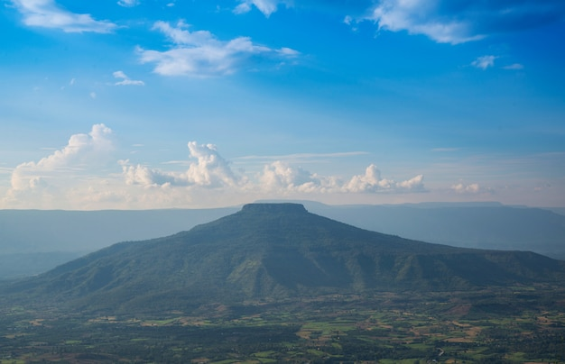 Landscape beautiful mountain scenery view on hill and sunset / phupapoh - phu pa poh, loei or fuji of thailand