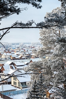 Landscape of a beautiful small village of wooden houses through snow-covered branches of pine trees