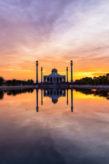 Landscape of beautiful sunset sky at central mosque