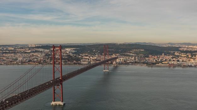 Landscape on the bridge 25 april lisbon portugal