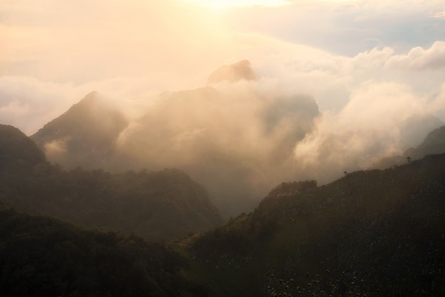 Landscape of chiang dao mountain with cloud in chiangmai, thailand.