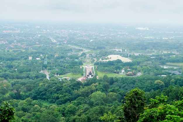The landscape of chiang mai city on a rainy day, the sky is bright.