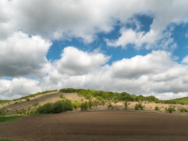 Landscape on a cloudy sunny day