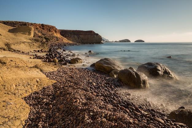 Landscape on the coast of escullos. natural park of cabo de gata. spain.