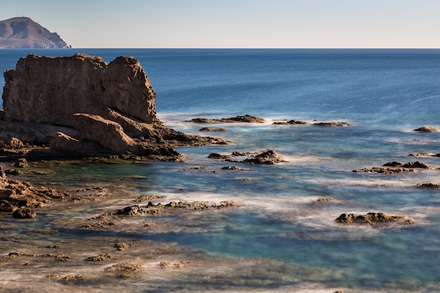 Landscape on the coast of escullos. natural park of cabo de gata. spain.