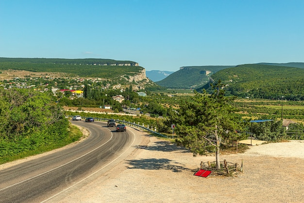 Landscape of the countryside in the foothills of the crimean mountains