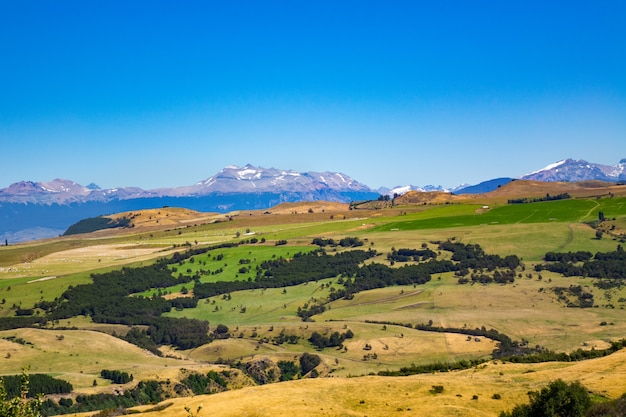 Landscape of coyhaique valley with beautiful mountains and road view, patagonia, chile, south america
