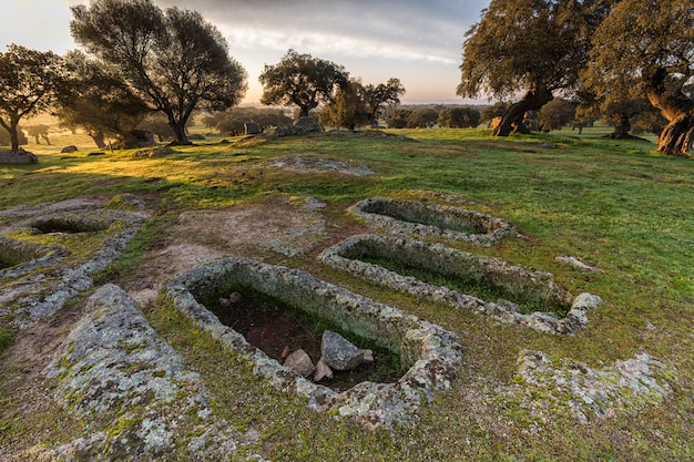 Landscape at dawn, the graves are archaeological remains of iv century ad approximately