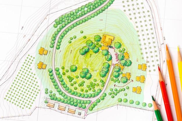 План ландшафтного дизайна Premium Фотографии